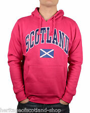 Scotland Saltire Flag Unisex Hooded Top, Long Sleeve, Hot Pink, All Sizes