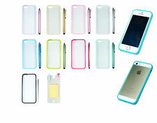 Soft TPU Bumper Frame Hard Back Case Cover Skin for iPhone 5 5s w/ Touch Stylus