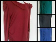 NEW Long Sleeve COWL NECK Drape RUCHED Soft KNIT SWEATER~5 Colors~XL/1X/2X~F/S!