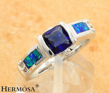 Princess Charm Natural Fire Opal Blue Topaz 925 Sterling Silver Ring