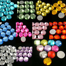 100 Acrylic 12mm Round Global Facet Flat Back Rhinestone Pick 10 Color