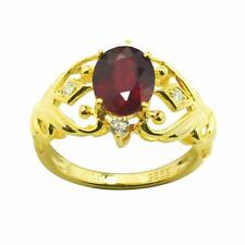 De Buman Gold over Silver Genuine Ruby and Cubic Zirconia Ring