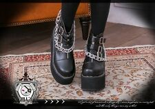 Punk rock marine private cross zipper toe platform motor chain ankle boots 993 B