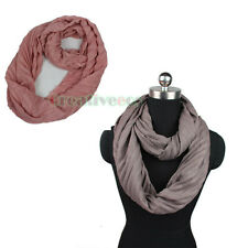 Women's Cotton Wrinkle Infinity Scarf Circle Loop Cowl Eternity Neckwarmer Wrap