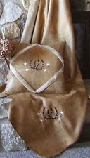 Embroidered Western Horseshoe Throw and Pillows - Tan or Red