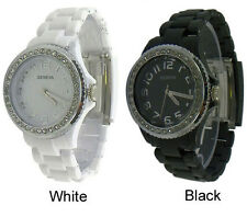 Ladies Geneva Plastic Band CZ Fashion Watch 42mm