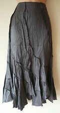 NEW WOMENS LONG PEWTER GREY SHEEN SKIRT SIZE 8 10 12 14 16 LADIES PANELLED L/WT