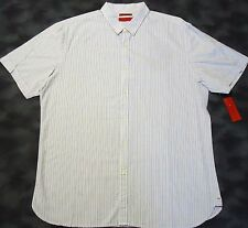 Alfani Short Sleeve Button Front Modern Fit White Multi Striped Cotton Shirt