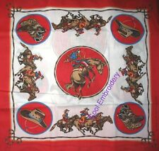 "Cowboy Horse Horses Red or Blue Bandana 22""x22"" Fabric Panel"