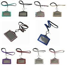 x1 BLING COMBO Horizontal Acrylic Rhinestone ID Card Holder & Lanyard Neck Strap