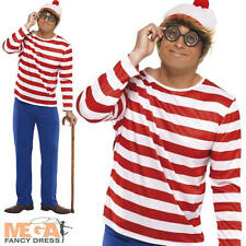 Where's Wally Mens Fancy Dress Adult Stag Party Costume