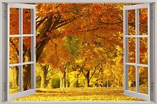 Huge 3D Window Enchanted Yellow Forest View Wall Stickers Art Decal Wallpaper