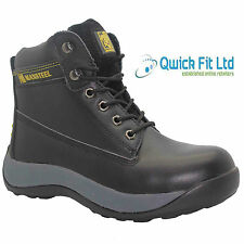 NEW MENS LEATHER SAFETY BOOTS STEEL TOE CAP ANKLE WORK SHOES TRAINERS SIZE 6-12