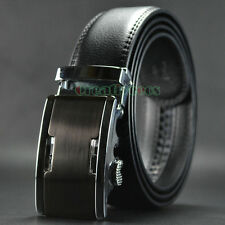 New Men's Hollow Out Auto Lock Buckle Business Genuine Leather Waist Strap Belt