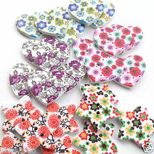 5 x wooden painted buttons  hearts/ stars  size 24mm wide  2 holes