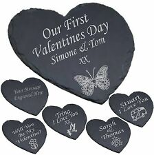 Personalised Heart Shaped Slate Cheese Board Valentines Gift