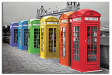 London Colour Phoneboxes Large Wall Poster New - Laminated Available