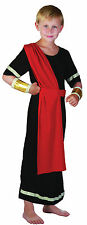 BOYS CAESAR BLACK COSTUME ROMAN/GREEK TOGA FOR FANCY DRESS 4 SIZES