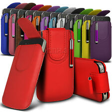 Magnetic PU Leather Pull tab Pouch Case Fits & Stylus For Samsung Mobile Phones