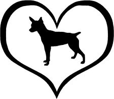 "Rat Terrier Dog Heart - 4.3"" x 3.75"" - Choose Color - Decal Sticker #1504"