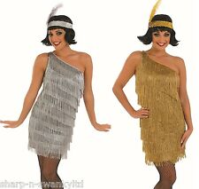Ladies Gold Silver 1920s Gatsby Flapper Fancy Dress Costume Outfit 8-26 PlusSize