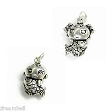 1 x Sterling Silver Fish Fairy Tale Mermaid Dangle Charm Pendant Many Styles