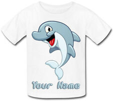 CUTE DOLPHIN PERSONALISED SUBLIMATION KIDS T-SHIRT - GIFT FOR ANY CHILD & NAMED