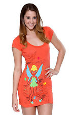 Disney Tinkerbell Coral Orange Fitted Night T-Shirt Dress