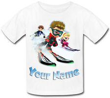 SKI SKIING PERSONALISED CHILD'S SUBLIMATION T-SHIRT -GREAT NAMED KIDS GIFT