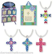 Kids Childrens Religious Cross Pendant Necklace Sterling Silver Plated