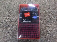 "NIP Hanes 2 Pack Flannel Boxers Men's Size S (28""-30"") - XL (40""-42"")"