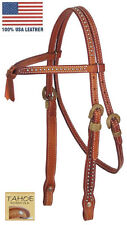 Tahoe Tack Mesquite Rawhide Knotted Full Horse Headstall USA Leather London Tan