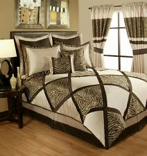 4pc Lush Taupe/Brown Animal Print Pieced Comforter Set Queen King Cal King
