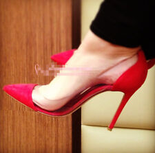 2014 Women's High Heels Pumps Stiletto Shoes Clear Side Pointed Toe Glitter Sexy