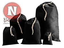 Cotton Drawstring Bag in BLACK  Laundry storage toys nappies craft school PE kit
