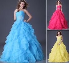 2014 New Sexy Quinceanera Organza Formal Beaded BallGown Evening Prom Long dress