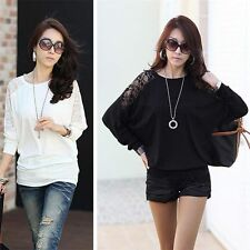 Women Casual Batwing Top Dolman Shoulder Lace Long Sleeve Loose Shirt M0622
