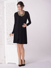 Maternity Long Sleeve Petal Front Pregnancy Nursing Black Dress -Style N8072LBLK