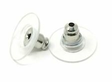 Antique Silver Plated Ear Nuts Stoppers Earring Backs 11mm x 7mm Quantity ML