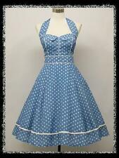 dress190 BLUE & WHITE HALTER 50's POLKA DOT ROCKABILLY VINTAGE PROM PARTY DRESS