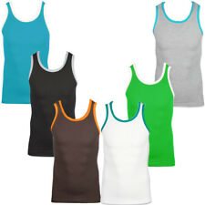 Mens Raiken Basic Ribbed Slim Fit Sleveless Vest Top Gym T-Shirt Size