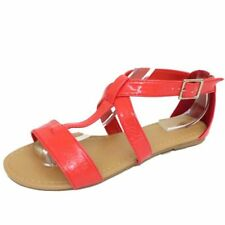 LADIES FLAT CORAL GLADIATOR STRAPPY SUMMER SANDALS FLIP-FLOPS SHOES SIZES 3-8