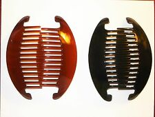 Hair Combs Extra Large Black Tortoise Brown Fashion Pin Clip Hairpin Comb 2 Pcs