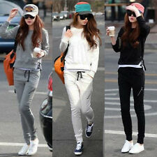 Sz 6-12 Korean Ladies Leisure Blouse+Pants 2pcs Slim Sweat Sport Suit Tracksuit