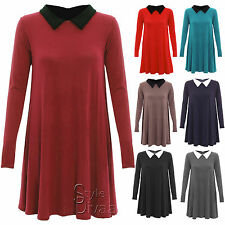 AD26 Ladies Peter Pan Collar Plain Long Sleeve Jersey Swing Party Dress