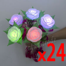 24x Rose Romantic Love Flower Leaf Color Change LED Light Flameless Candle Gift