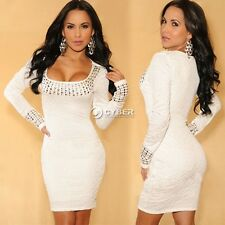 Women's O-Neck Long Sleeve Beyonce Stretch Bodycon Dress Plus size White DZ88
