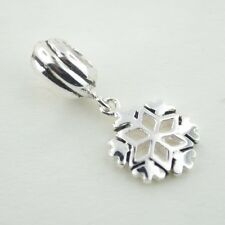 Sterling Silver 925 European Charm Silver Snowflake Winter Christmas Bead 77141