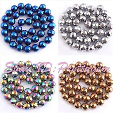 """10mm Round Faceted Hematite Gemstone Spacer Loose Beads 15""""/Lot (Not Magnetism)"""