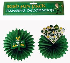 Set Of Two 2 Different Irish St Patricks Day Shamrock Hanging Paper Decorations